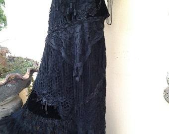 20% OFF gothic bohemian lagenlook gyspy vintage boho shabby chic dress..small to 36' bust..