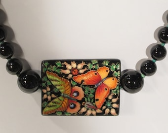 Necklace - Russian-Like Black Lacquer Pendant with Hand Painted Butterflies and Flowers - Genuine Black Onyx Beads