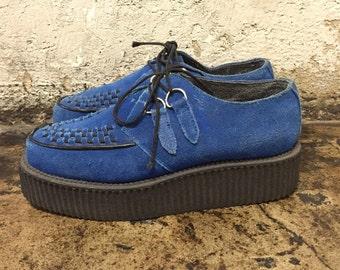 creepers, mens shoes,  vintage T.U.K blue suede lace up platform creeper boots, shoes,