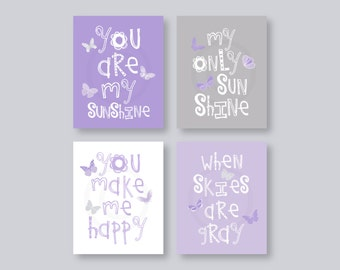 Butterfly Art for Kids, Purple Nursery Decor, Lavender Nursery Wall Art, You Are My Sunshine Art Prints, Purple and Gray Art Set of 4 prints