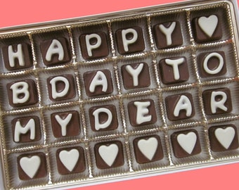 Personalized Birthday Gift for Men Women Him Her Happy B Day To My Dear Customize Name Cubic Chocolate Letters Cute bf gf APO AK Canada