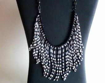 Native American necklace, black, white, silverand  mauve