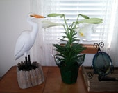 On Sale Great White Hand Carved Painted Egret Original One of a Kind New Orleans Lane Brigham