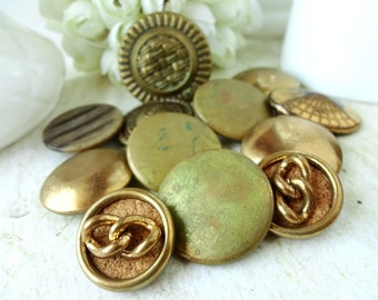 12 Antique Metal Buttons / Chippy Rustic / Vintage Rescued Smalls (B2)