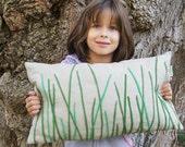 """Grass Look Organic Pillow / Organic Linen Pillow Cover/ Decorative Pillow/ 12""""x20""""/ OOAK /  Made To Order"""