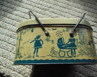 Antique Tin Litho Lunch Box, Girl Playing Themed, 1940s Lunchbox with Inner Tray