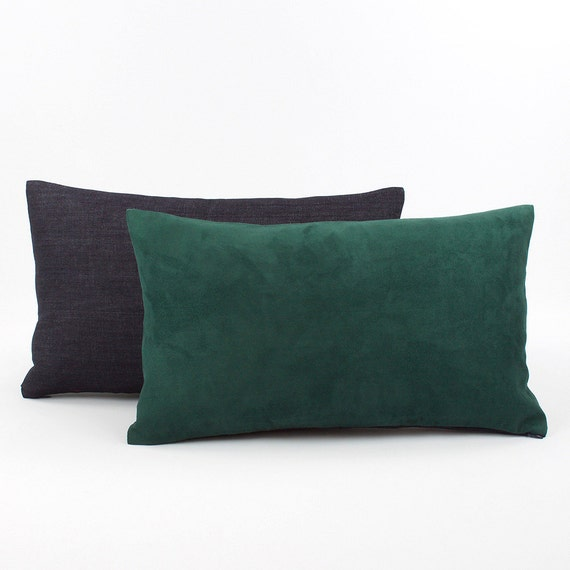 Hunter Green Lumbar Pillow Cover 12x20 Faux by ChloeandOliveDotCom