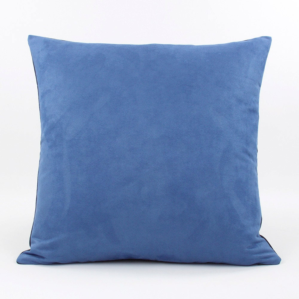 Blue Throw Pillow Cover 20x20 with Faux by ChloeandOliveDotCom