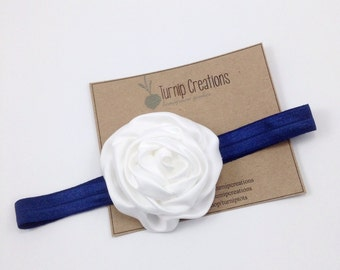 Navy Headband Coral Headband Flower Headband Rolled Satin Rosette Newborn Headband Girls Headband