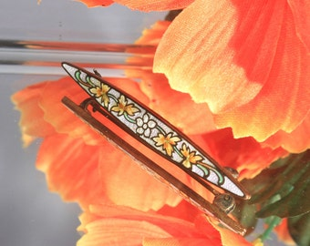 Brass Cloisonne Foral Bar Pin, White and Yellow Flowers Bar Pin Brooch