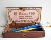 Antique Wooden G. Rowney & Co Artist Painting Box