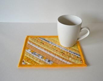 Yellow Quilted Cotton Coaster, Mug Rug, upcycled selvage, selvedge coaster, sunshine yellow decor