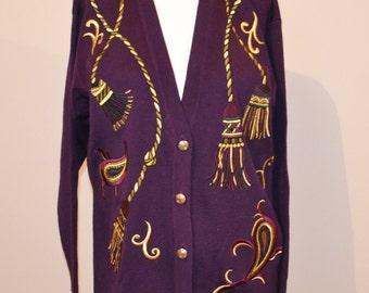 Purple gold cardigan | Etsy