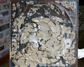 "Genuine Antique Ceiling Tile - 12""x12"" - Chippy Tan and White Paint -- Swirling Vines Design"