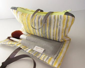 Cosmetics Wrap with zipper and brushes pouch Lemon and grey and yellow
