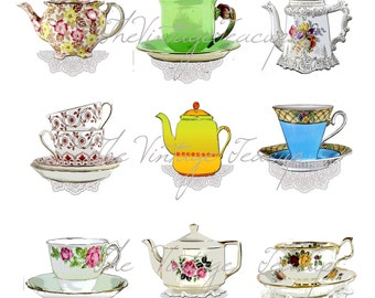PDF Teacups and Tea Pots, 9 Digital Clipart Images for Instant Download, PDF and JPG (3)