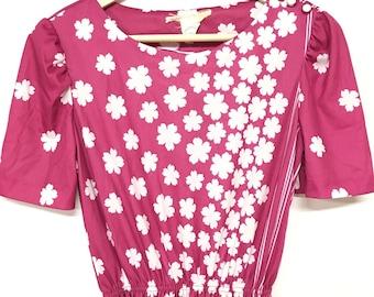 vintage 70s bright pink floral dress