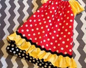 Peasant Style dress  -Minnie mouse polka dots ruffles - Sizes newborn through 8 Years