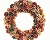 Autumn Pinecone Wreath, Fall Colors Wreath, Rustic Wreath, Multicolor Cone Wreath