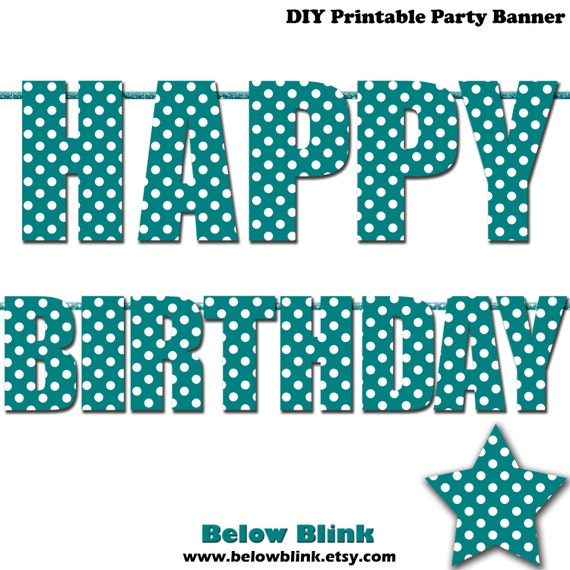 Teal Happy Birthday Letter Banner Teal Polka Dots Photo Prop