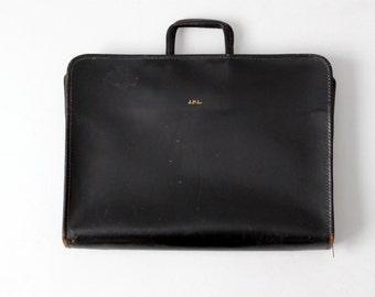 vintage attache case, black leather briefcase