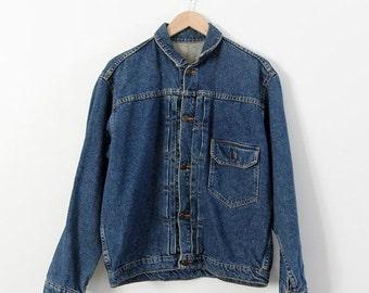 SALE denim jacket, vintage jean jacket, workwear by Wahoo Maker