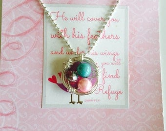 Inspirationsl birds nest pendant