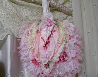 Pink Lace Purse #C, handmade white fabric bag, crochet doily, frilly pink lace bag, pink ruffle lace trim, beads buttons