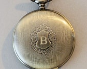 Brass Mens  Shield Round  Pocket Watch ,Mechanical Pocket Watch,Steampunk Pocket Watch,Pocket Watch Chain,Groom Gift,Groomsmen Gift