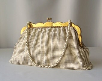 Vintage Mesh Purse Whiting And Davis With Wallet Cream Color Gold Tone Frame Violet Purple Satin Lining 1950s