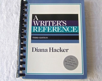 Vintage Writer's Reference Book Diana Hacker 1995 Rules For Writer's Grammar Book Tabbed Sections