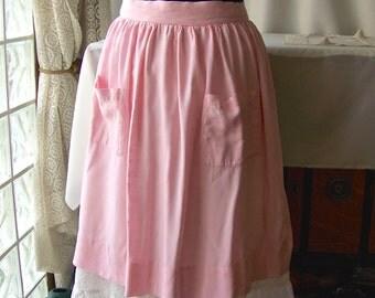 Vintage Apron Pink Yellow Checked Half Apron Retro Kitchen 50s Kitchen  Cotton Mothers Apron Linen Bridal Shower Gift 1950s