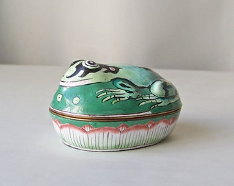 Vintage Frog Trinket Box Porcelain Jewel Box Green Frog 1990s