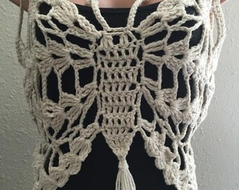 """Crochet  Top """"Butterfly""""cover up Large size."""