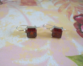 Large Square Cut Garnet & Sterling Silver Earrings — January Birthstone