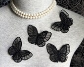 Vintage Applique - 4 pcs Black Butterfly Applique Trim (A290)