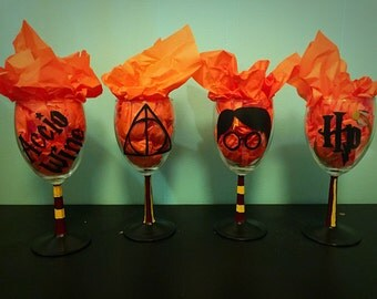Hand Painted Harry Potter Wine Glasses