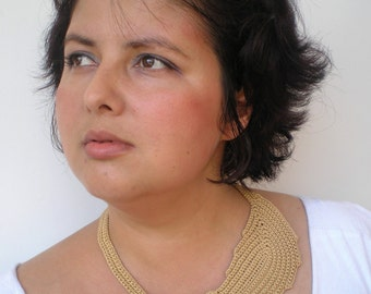 Beige Leaf Necklace Hand Crocheted Cotton Collar Woman Fashion Necklace NEW