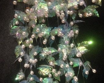 Vintage Iridescent Pearl & Leaf Spray