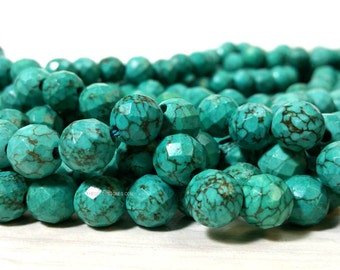 10 mm Large Hole Stabilized Turquoise Faceted Round Beads 2.5 mm hole - Big Hole Gemstone (G2632R38Q5-BHM1)
