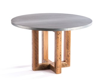 Zinc Table Zinc Dining Table  - The Winston Round Zinc Top Metal Top Dining Table Pine Base