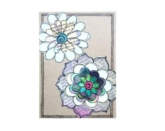 Handmade Blank Card - Paper Flower Garden series 1 - 5x7 (PFGL-0001)