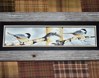 Chickidee on Birch Tree 4 x 12