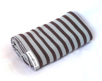 Large Cotton Jersey Knit Baby Swaddle/Receiving Blanket - Boy/Girl - Brown/Mint Green Stripe