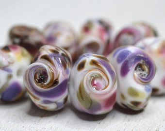 SRA handmade, swirled set of  lampwork beads (9) in baby pink, green, lavender & ivory with a matte finish for making jewelry 71116-4