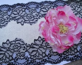 """9 1/4"""" (23 cm) Wide Contrasting Silver Gray Black Floral Stretch Metallic Lace Roses Pattern for Lingerie Sewing Table Runner Decor FJT3 ST"""