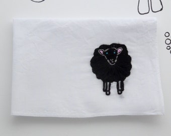 Black Sheep Animal Scarf Embroidered Handkerchief Black Sheep Friend Gift Funny Embroidery