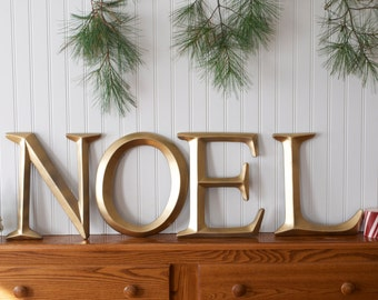 "NOEL 12""  Letters wall art decor Holiday Home Decor Gold Christmas display metallic faux"