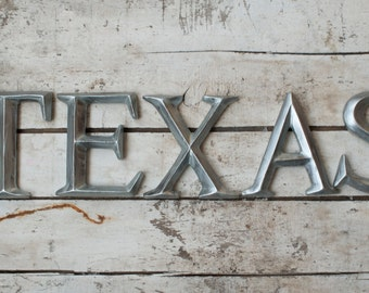 """4"""" Wall Letters TEXAS sign wall art decor vintage style Silver Zinc Nickel faux"""