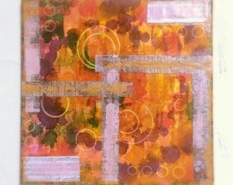 Orange Abstract and Modern Alcohol Ink and Mixed Media Painting, Paper Collage, Bold Circles Artwork, 10 x 10 Painting, Original Painting